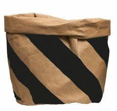 Large Washable Paper Bag Natural/Black Stripe