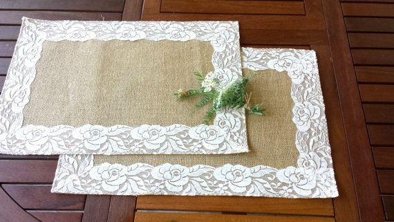 Burlap and lace placemats  set of two by Littlewhiteboutique, $15.00 - nice idea for centerpiece mat on a wedding table!