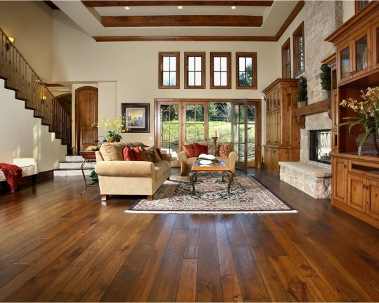 LOVE This Room! Beautiful Stain Hickory Hardwood Floors!