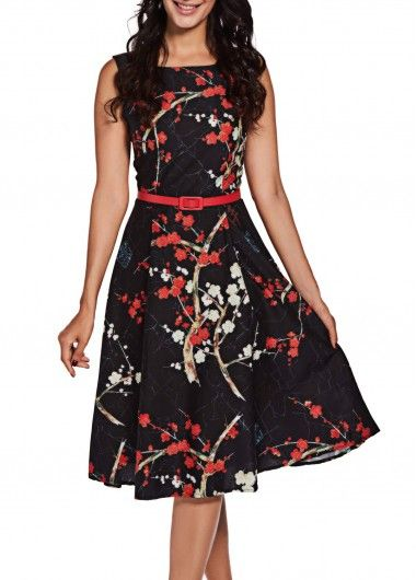 Vintage Black Floral Sleeveless Midi Fit and Flare Dress