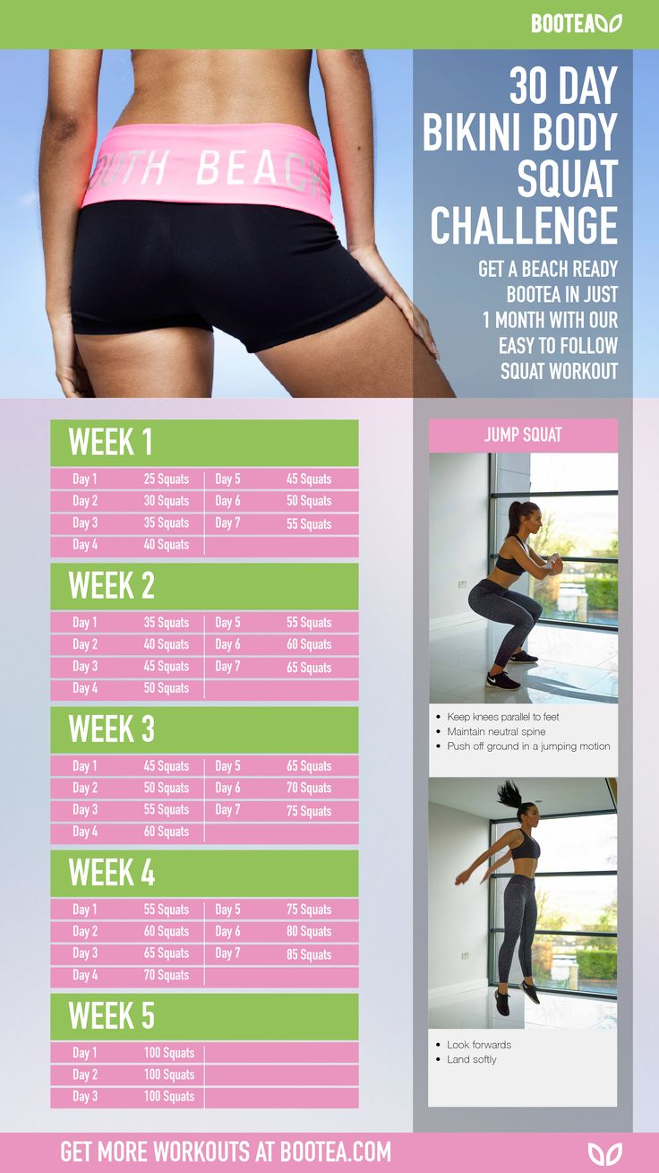The Bootea 30 Day Bikini Body Squat Challenge. Spend a few minutes each day and get the beach ready booty of your dreams. Gradually increasing in intensity, this workout can be done at home and is also great for working your core. Stick to the plan and you'll be looking toned and sexy in time for your holiday. Let's hit the beach!  Get more workouts at www.bootea.com