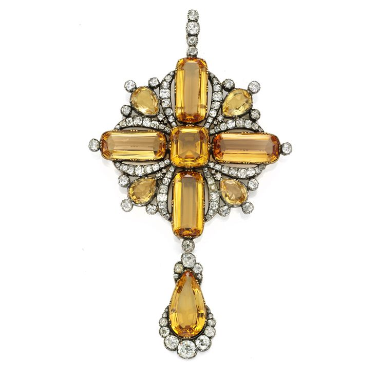 Antique Imperial topaz and diamond pendant brooch                                                                                                                         English, circa 1810