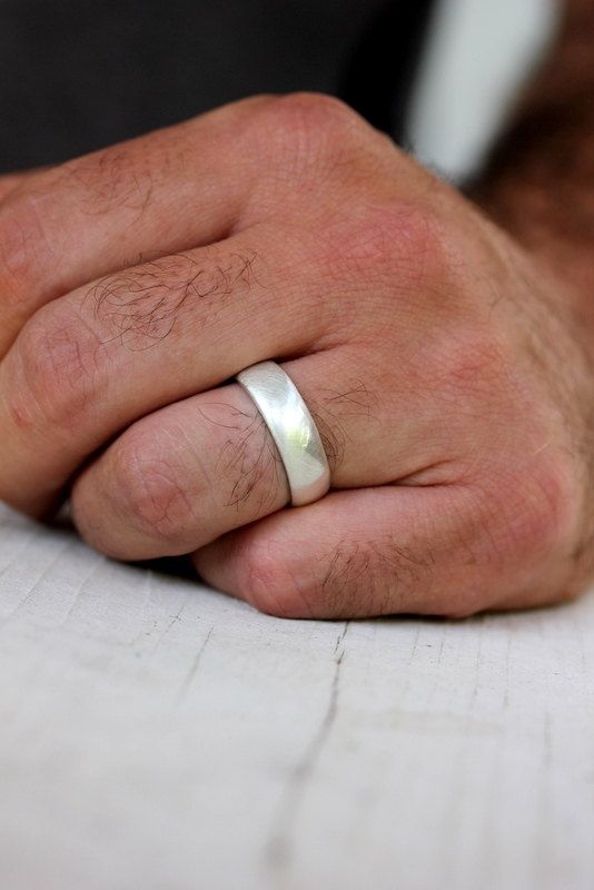 Sterling Silver Wedding Band Mens In Brushed By Onegarnetgirl