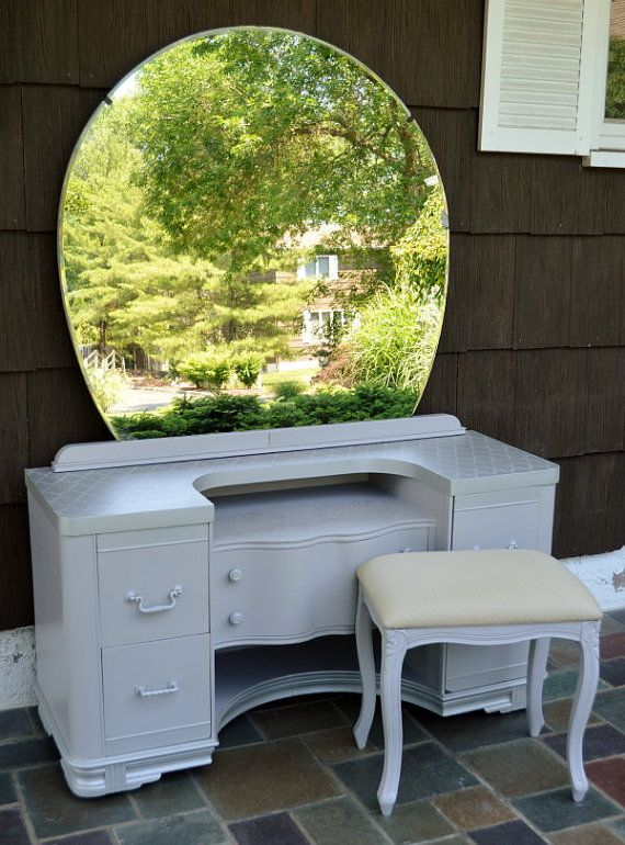 painted Art Deco vanity with round mirror and ottoman on Etsy, $750.00