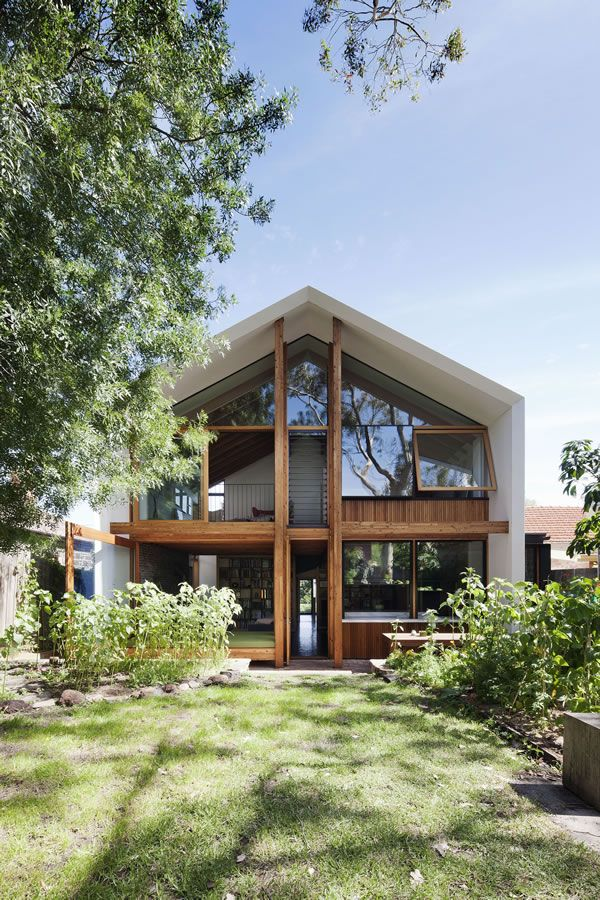 Sustainable house in Northcote VIC, Australia, a project by BKK Architects - I like the combination of white and wood