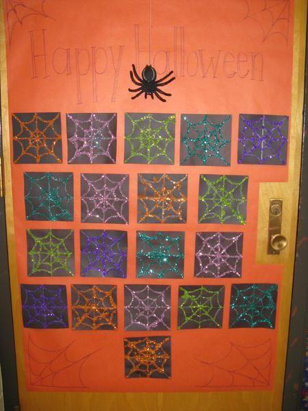 Happy Halloween!Spider Webs, Doors Decor, Halloween Spiders, Bulletin Boards, Halloween Doors, Boards Ideas, Art Projects, 1St Grade, Spiders Web