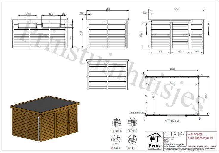 1316 tekening tuinhuis platdak 406cm x 298cm | Prins Tuinhuisjes