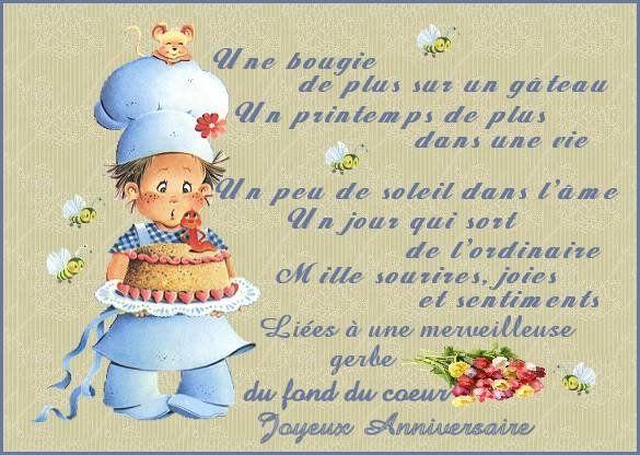 Une bougie de plus sur un gâteau, joyeux anniversaire !   Du fond du coeur !        Que cette journée te comble de bonheur ! Joyeux ann...