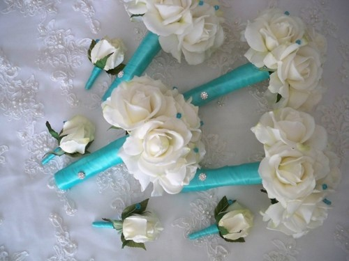 Realtouch Rose and Tiffany Blue Destination Bridesmaid Wedding Bouquet