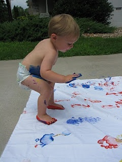 Toddlers sheet painting! So doing this when it gets warmer!