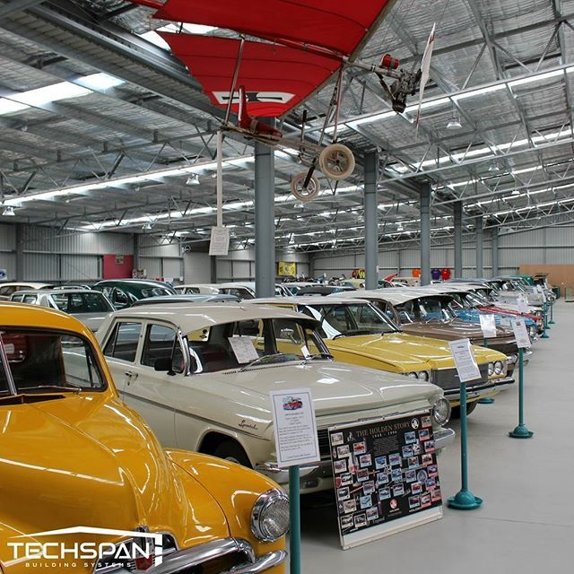 Inside Inverell's National Transport Museum (which we built). Love these classic cars #inverell #inverellnsw #nsw #cars #carscollection #carslovers #commercialshed #techspanbuildings