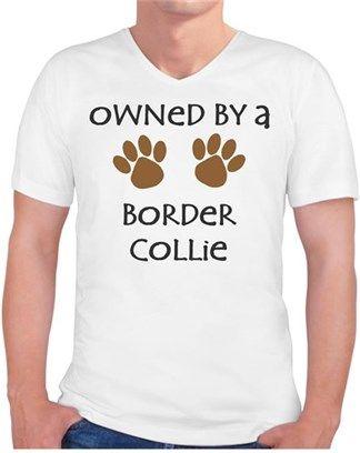 Köpekli - Owned By a Border Collie Kendin Tasarla - Erkek V Yaka Tişört