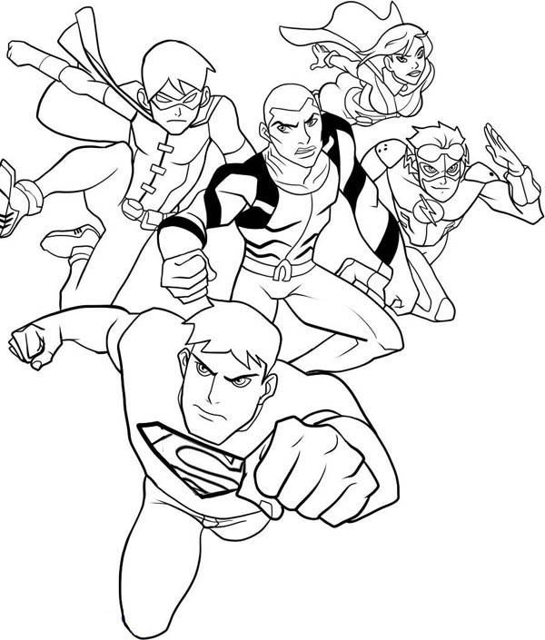Young Justice League Coloring Pages Justice League Characters Young Justice League Superhero Coloring