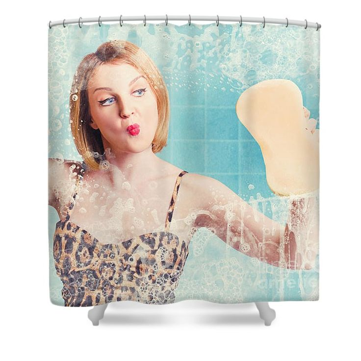 Housework Shower Curtain featuring the photograph Funny Pin Up Cleaning Woman Washing Bathroom Glass by Jorgo Photography - Wall Art Gallery