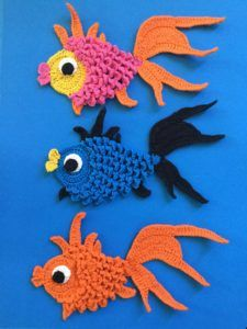 Get the free crochet pattern for this goldfish appliqué.