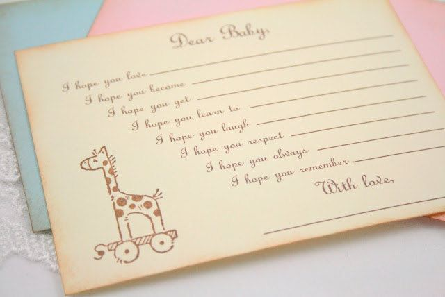 I adore this idea. Wishes for the baby from loved ones.  Baby Shower Wishes for Baby Game Activity Cards Fill in the Blanks Vintage Giraffe. $15.00, via Etsy.