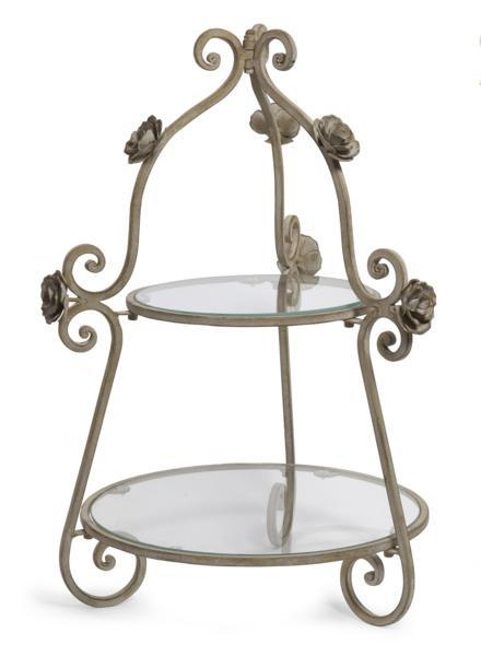 """2-Tier Rose Plate Holder -  Victorian Two Tier glass top Serving Stand with metal budded roses. Material: 70% wrought iron, 30% glass. 25""""h x 17.25""""d."""