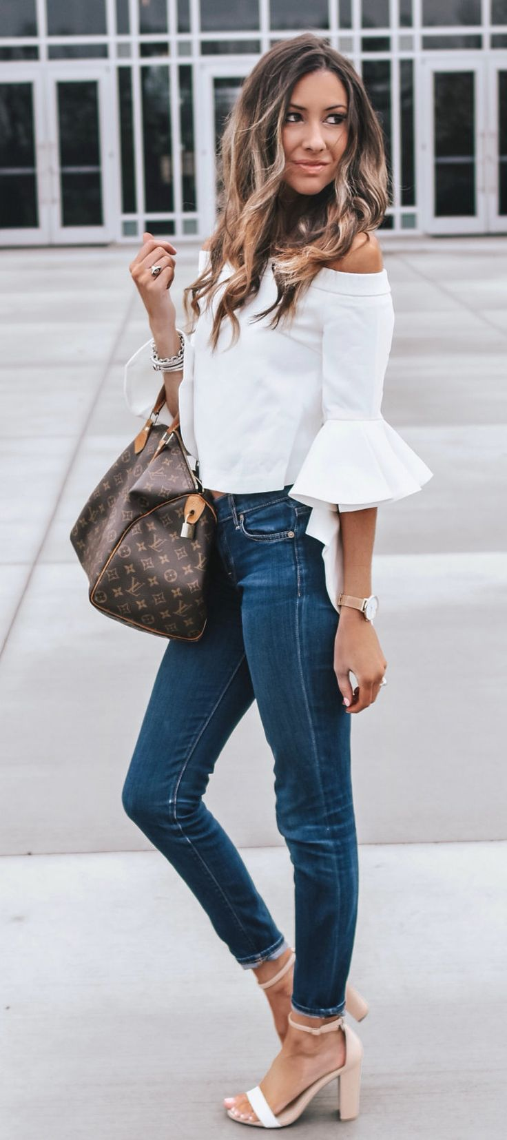 white off-shoulder elbow-sleeved blouse #spring #outfits