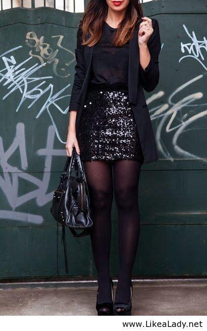 Black sequin mini skirt, black blazer, black tights and pumps