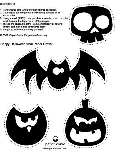 Halloween Vorlagen zum Basteln mit Kindern - für Halloween Deko am Fenster (dann einfach ausschneiden und mit Transparentpapier hinterkleben) oder als Halloweengirlande verwenden.