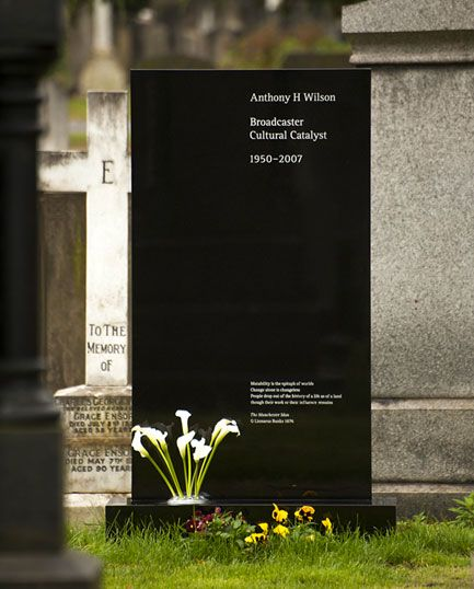 Tony Wilson headstone by Peter Saville