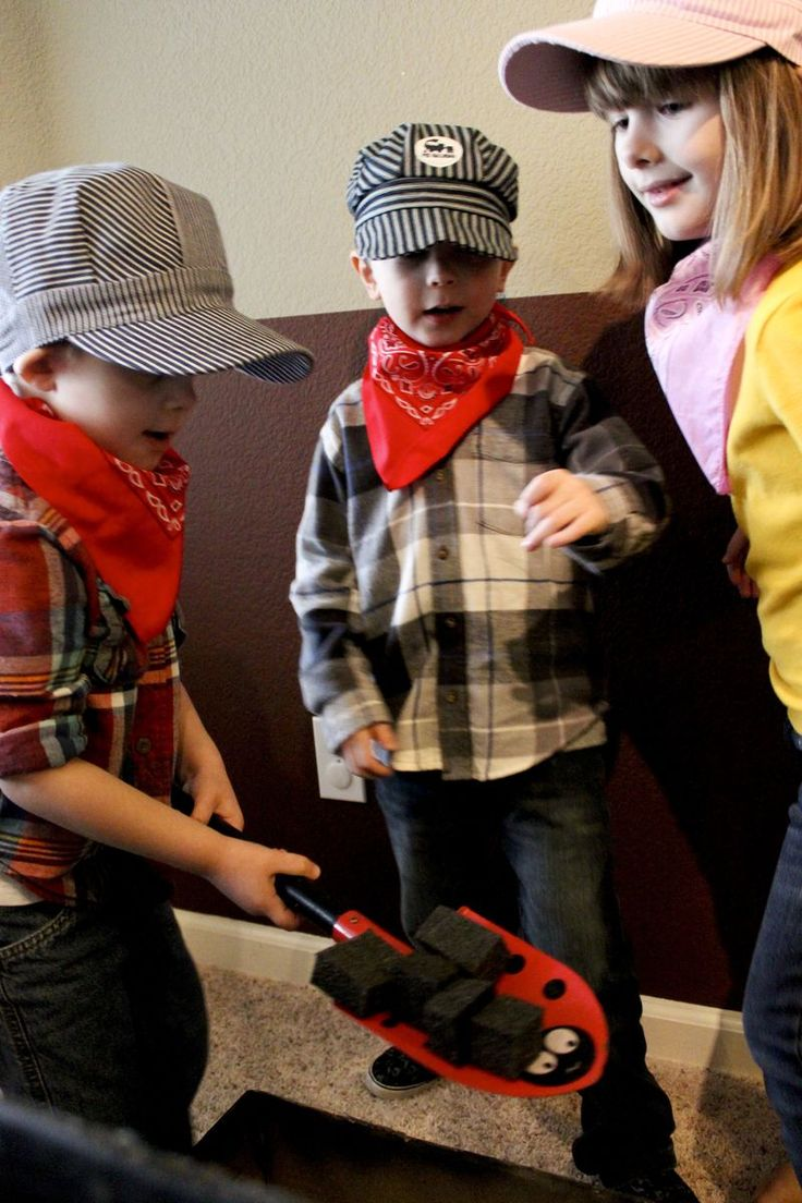 """Train party, or Thomas Train party. Shoveling """"coal"""" station for dramatic play area."""