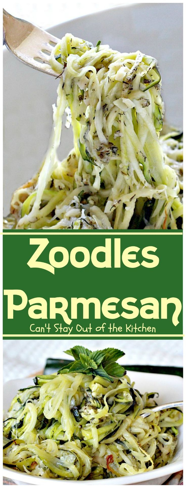 Zoodles Parmesan | Can't Stay Out of the Kitchen | this skinny & delicious side dish is a great way to use up garden #zucchini.…
