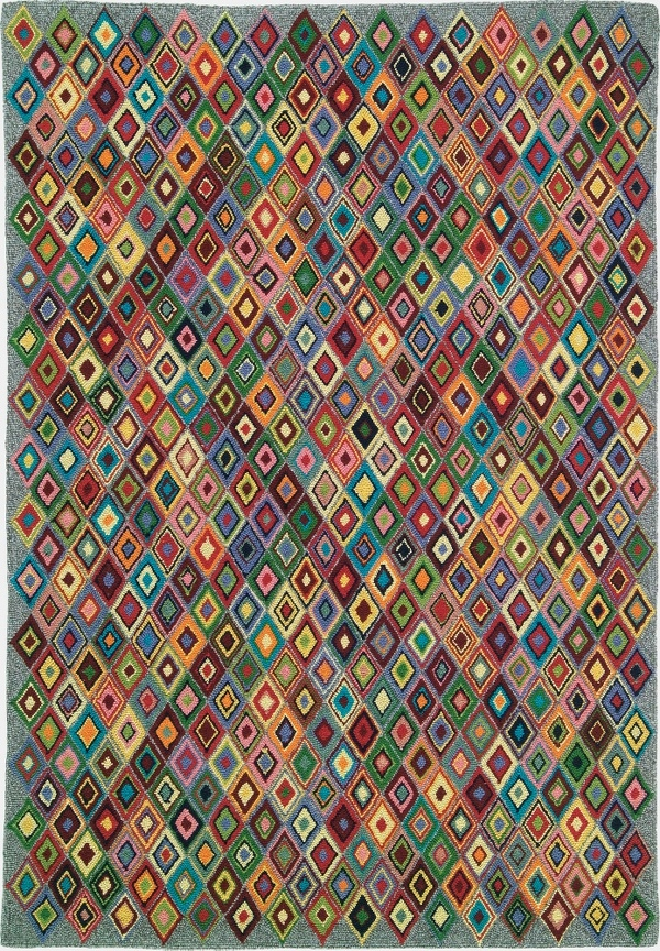 Argyle Rug In Multi Geometric Pattern Hooked Rugs Handmade Area From