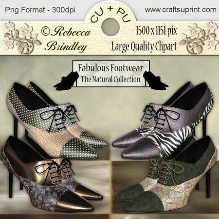 Fabulous Footwear The Natural Collection on Craftsuprint designed by Rebecca Brindley - Feed your shoe addiction with these gorgeous heels, and at 1500 x 1151 pixels each they are big enough to fit on any of your wonderful designs. Commercial use ok