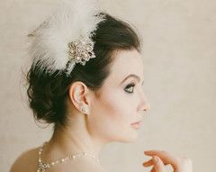 An ethereal, light soft feather headpiece perfect for a wedding or very special occasion
