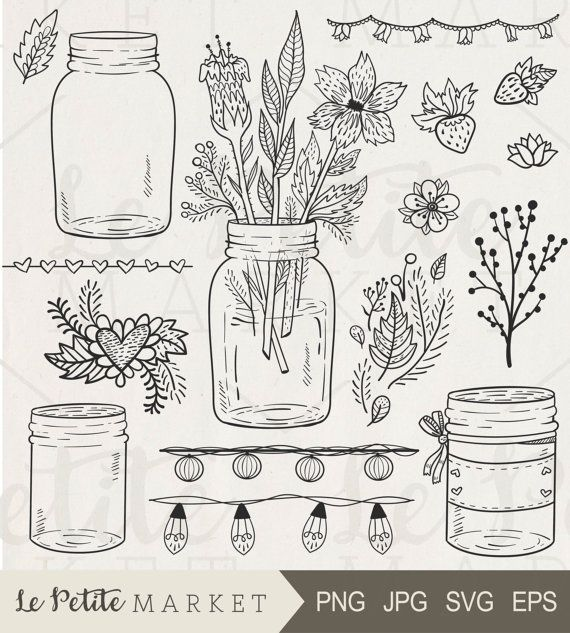 45% Off Spring Sale: use code: SUNSHINE  16 piece Hand Drawn Mason Jar Celebration Set; Perfect for scrapbooking, card making, branding, logo design, stationery and invitations, classroom worksheets, teachers, weddings, printable projects, party printables, sticker sheets, planners, digital stamping and more!  Youll get:  4 hand drawn mason jar illustrations  Strawberry, heart, leaf and flower clip art  Repeatable string light clipart page borders and decor  Repeatable heart and flower…