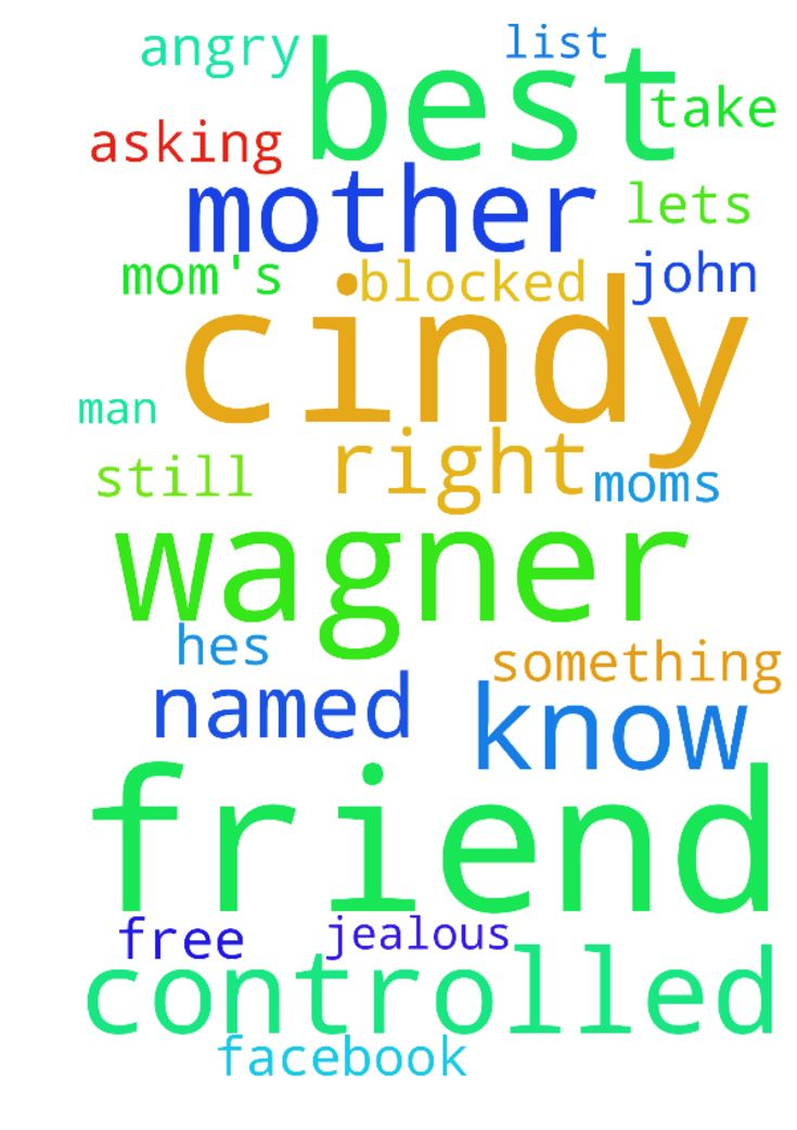 My mom's best friend Cindy Wagner is being controlled - My moms best friend Cindy Wagner is being controlled by an angry man named John. We dont know hes jealous of their friendship because she blocked my mother on facebook. We know something isnt right for she still has me on her friends list. My mother is worried and has been asking God to take care of her. Lets agree in prayer Cindy will be free from this.  Posted at: https://prayerrequest.com/t/D0M #pray #prayer #request #prayerrequest