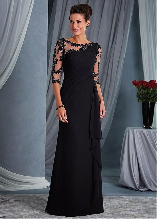 Buy discount Chic Tulle & Chiffon Bateau Neckline 3/4 Length Sleeves Sheath/Column Mother Of The Bride Dresses With Beaded Lace Appliques at Dressilyme.com