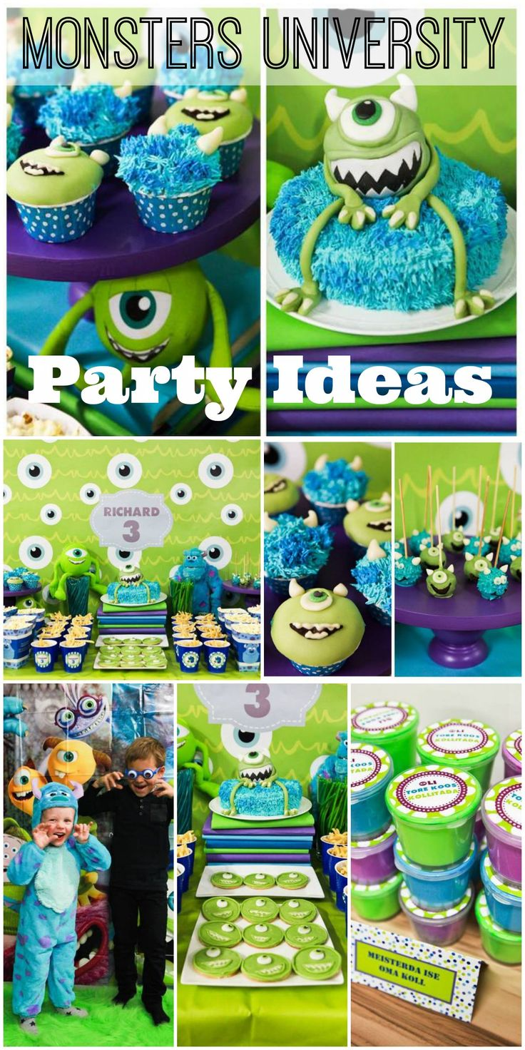 Check out these great dessert ideas (including the Monsters Inc. cake) at this Monsters University party! See more party ideas at CatchMyParty.com.