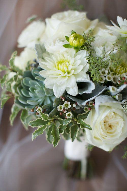 #FabFloraChicago Christy Tyler Photography, Roses, Dahlia, Ranunculus, Succulents, Queen Anne's Lace, White Wedding, Pastel Wedding, Summer Wedding, Wedding Flowers, Bridal Bouquet, Chicago Florist.