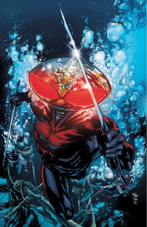 """Black Manta (David, last name unknown) (Human/Empowered) (Baltimore, Maryland, U.S.A.) Criminal. Highly intelligent. Degree of expertise in mechanical engineering. Superhuman strength, durability. Ability to lift/strike with the force of 5 tons. Jet boots, telepathic scrambler. Hand-to-hand combat training. 6' 2"""" tall."""