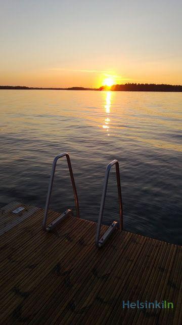 swimming around sunset in Helsinki