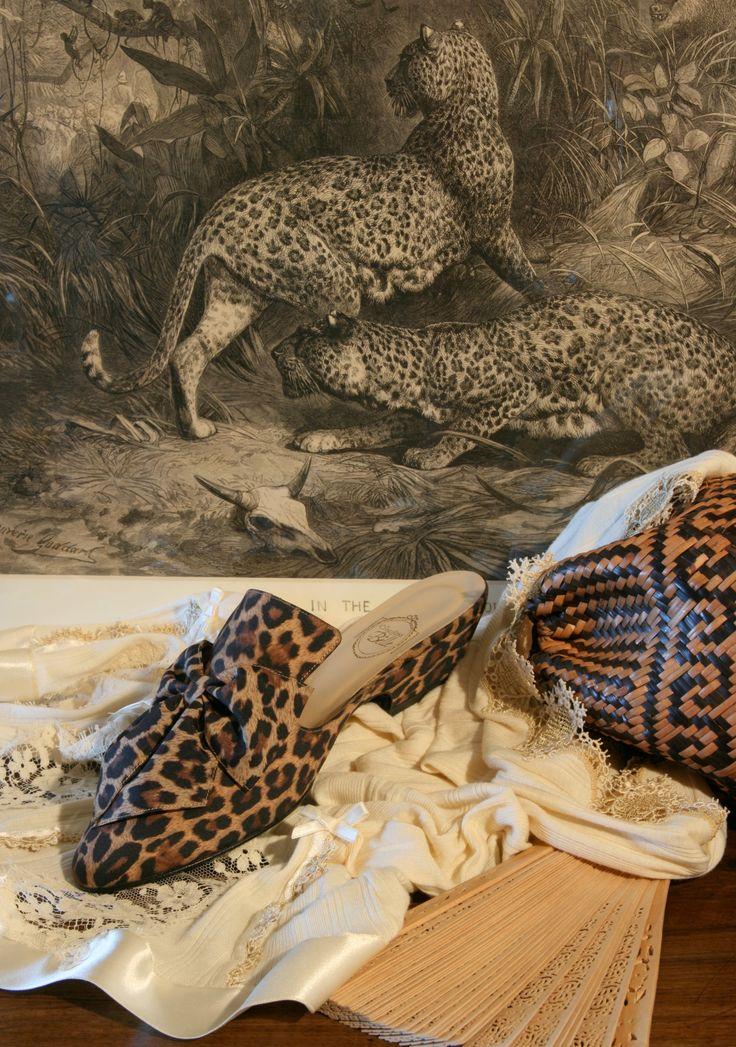"""Feline"" - jaguar print on honey http://store.leschaussonsdelabelle.com"