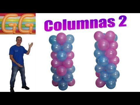 como hacer columnas de globos sin base - decoracion de fiestas infantiles - columnas de globos - YouTube