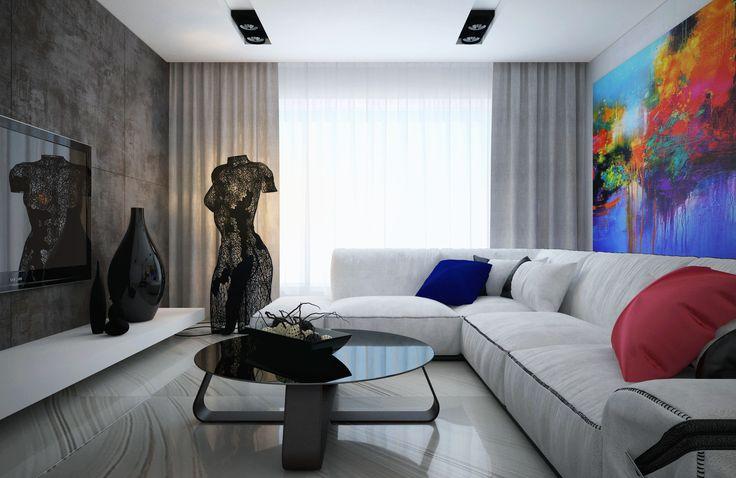 Светлая гостиная украшена живописью и изысканным дизайнерским светильником в виде женского манекена.