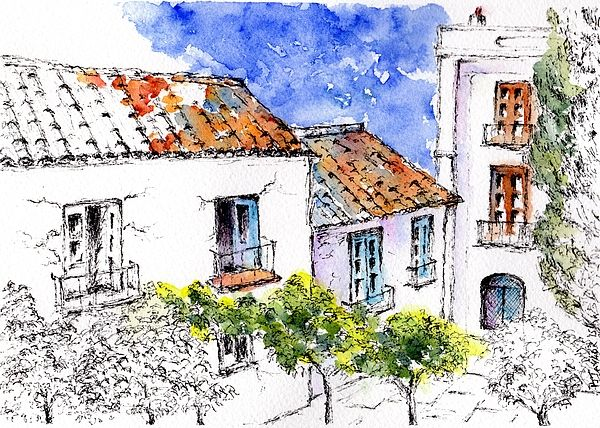 Cottages in Torrox Spain pen and Watercolour Wash