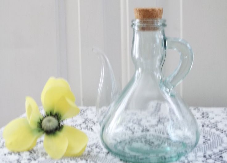 Clear Green Glass Spouted Corked Cruet Pitcher Decorative Teapot Terrarium Art Glass 16 oz - Free Shipping by HerbsforLivingLife on Etsy
