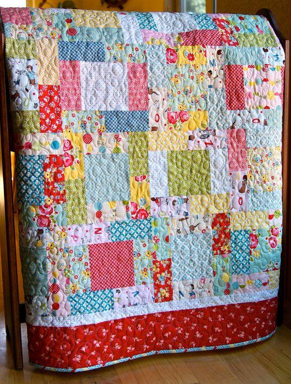 Quilt Baby Toddler Bluebird Park Moda Scrappy by PiecesOfPine