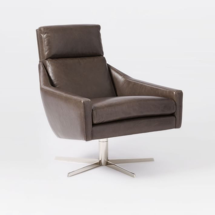 Austin Leather Swivel Chair, Charcoal
