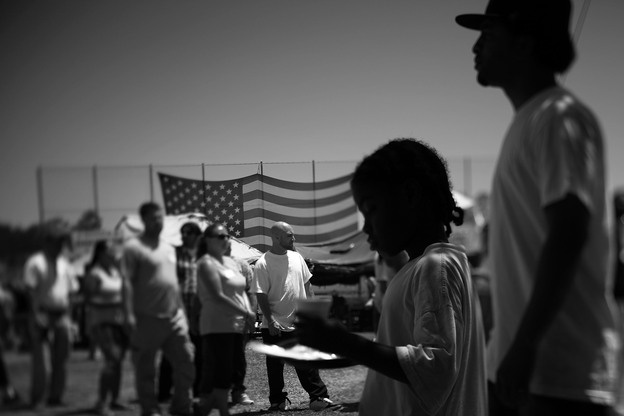 Homeless veterans, their families and volunteers line up for food at Stand Down, an annual event hosted by the Veterans Village of San Diego. The Veterans Administration estimates that 67,000 vets are homeless nationwide. - NPR August 2,2012