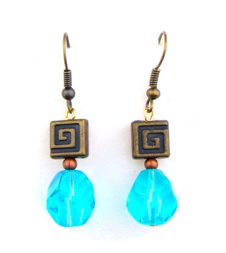 Vintage Earrings Czech Glass Bronze Tone Blue Hook Drop Dangle Geometrical #Unbranded