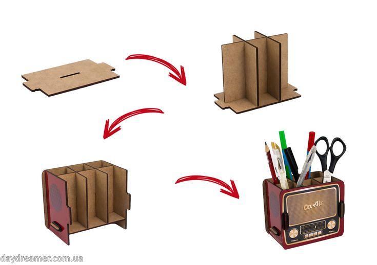 Органайзер для ручек Винтажное Радио – Vintage Radio Box, фирменная упаковка, винтаж радио бокс, стильный настольный органайзер, эксклюзивный подарок, подставка для ручек, магазин дейдример, daydreame