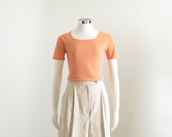 Square Neckline, Womens Peach Knit Top, Vintage Pastel Aesthetic Kawaii Shirt, Apricot Short Sleeve T-shirt, 90s Coral Pink Top, XS Small