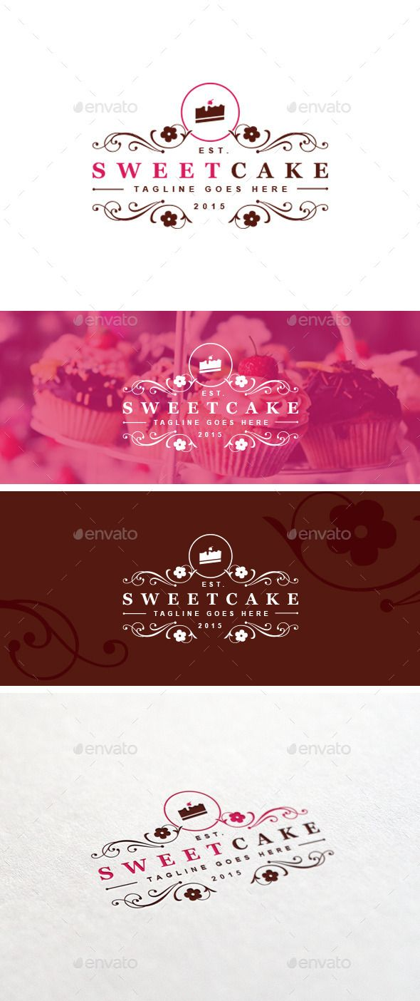 Sweet Cake Logo Template — Photoshop PSD #dark brown #sweets • Download here → https://graphicriver.net/item/sweet-cake-logo-template/11263067?ref=pxcr