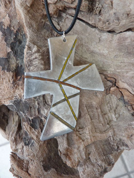 cross pendant di MOSAICANDARTS su Etsy